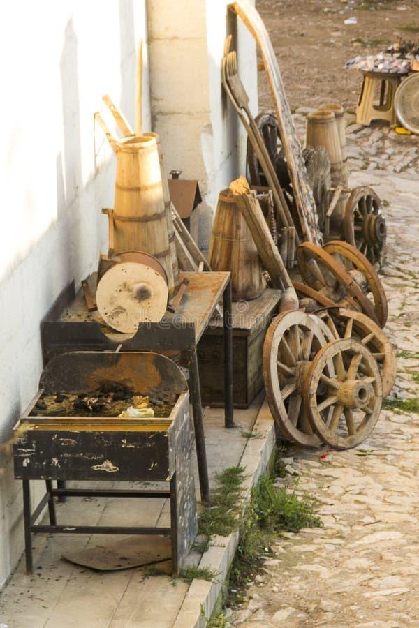 老工艺品辅助部件,一个露天博物馆 在旅行期间被拍的照片对土耳其 免版税图库摄影