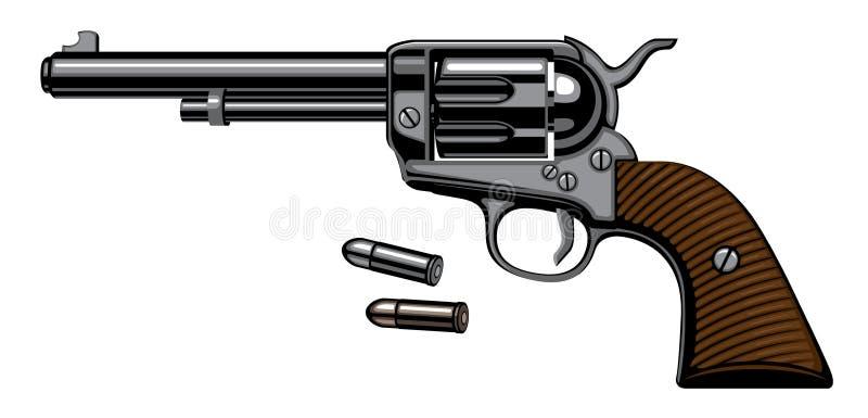 老左轮手枪用在现实样式的两枚子弹 向量例证
