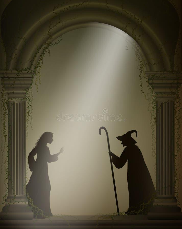 老巫婆和女孩老被放弃的城堡、万圣夜字符或者神仙的字符的, 皇族释放例证