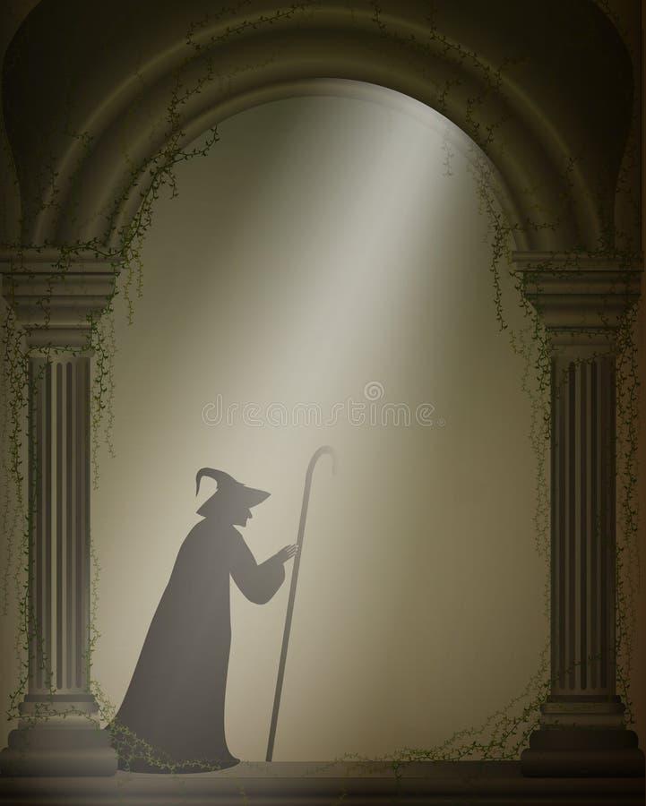 老巫婆或巫术师老被放弃的城堡的,万圣夜字符,万圣夜背景, 库存例证