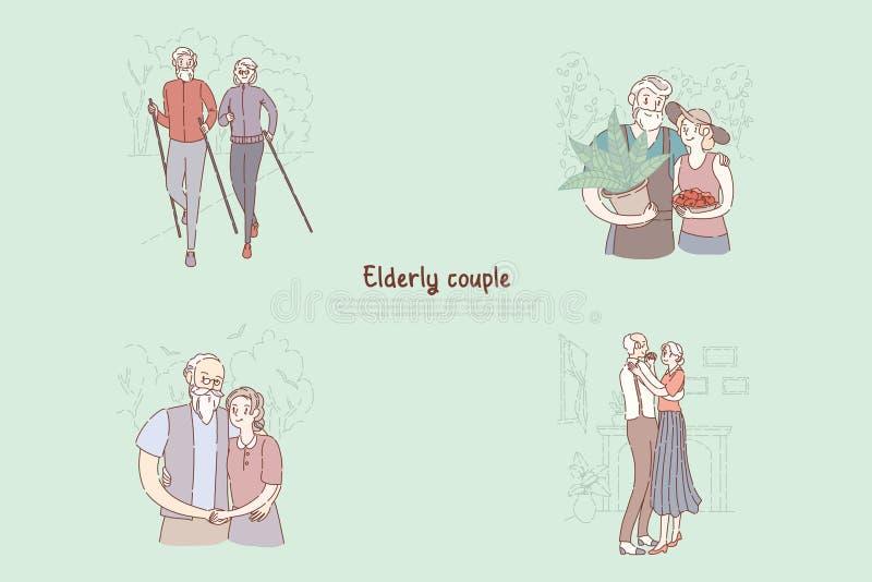 老已婚对、丈夫和妻子嬉戏漫步的,种田,拥抱,一起跳舞,老人院横幅 皇族释放例证