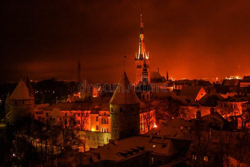 老市的夜视图塔林 库存照片
