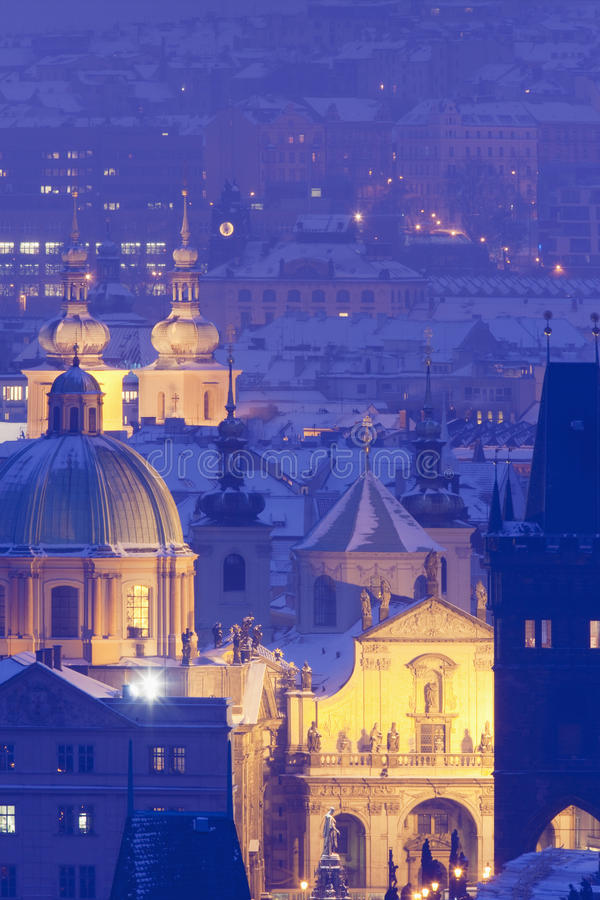 老布拉格尖顶城镇 免版税库存图片