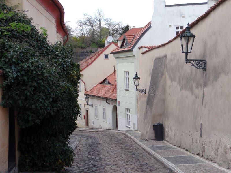 老布拉格狭窄的街道  免版税库存照片