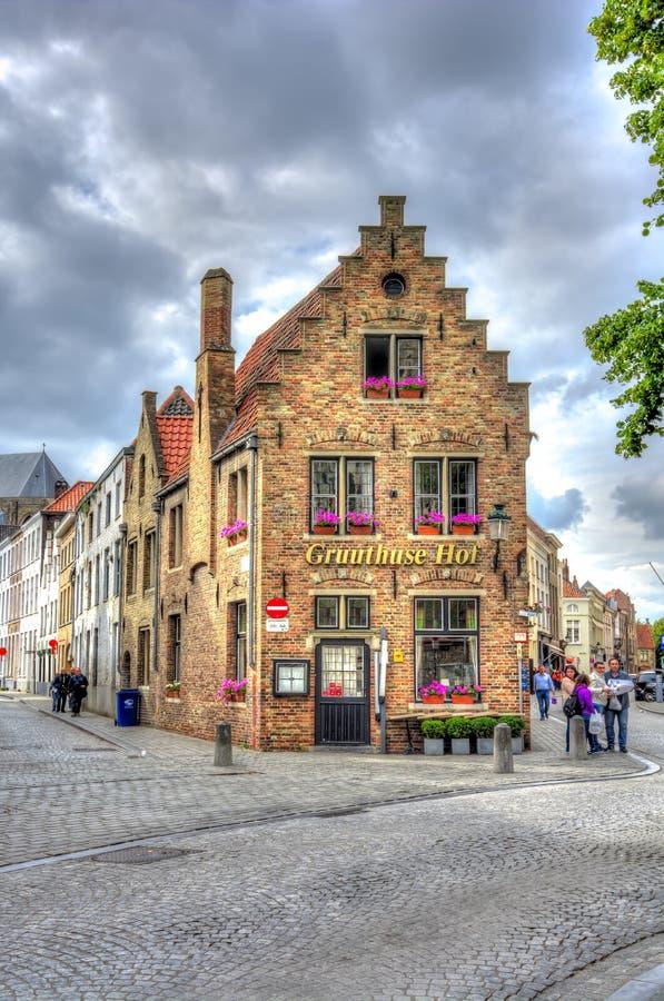 老布鲁日,比利时中世纪建筑学  库存照片