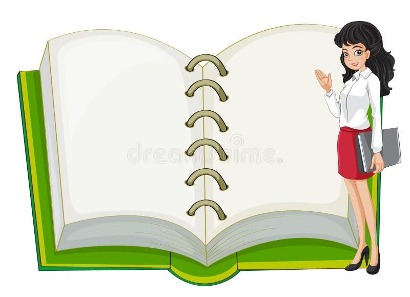 老师和一个空白的笔记本 库存例证