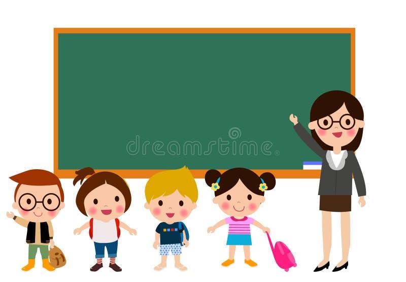 老师和学校孩子 皇族释放例证