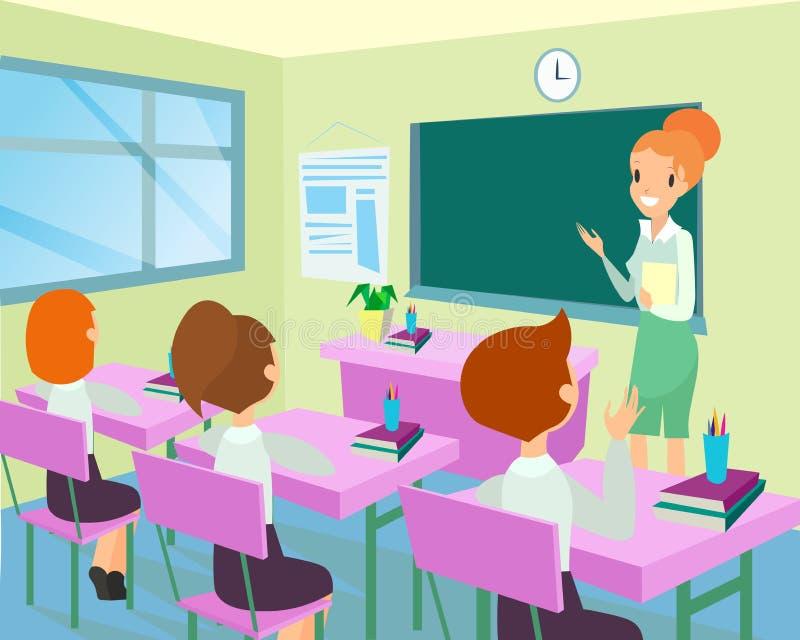 老师的传染媒介例证在有孩子的教室 在委员会附近的女老师身分类的,小孩 库存例证