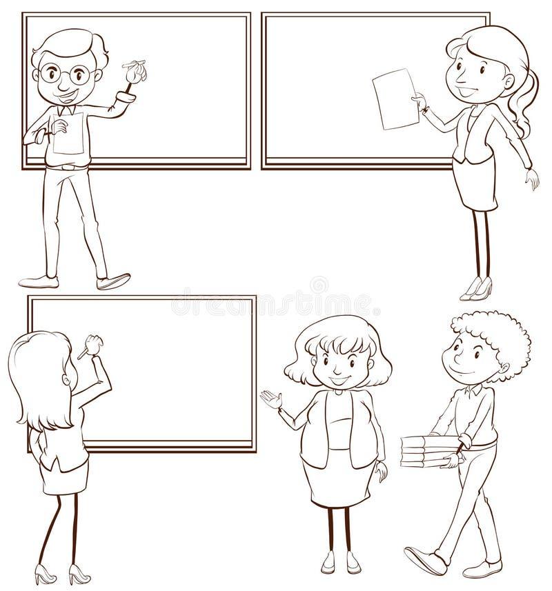 老师的简单的剪影在教室 库存例证