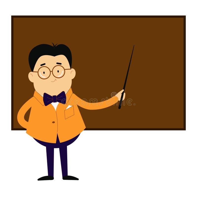 老师站立在有尖的黑板在他的手上 库存例证