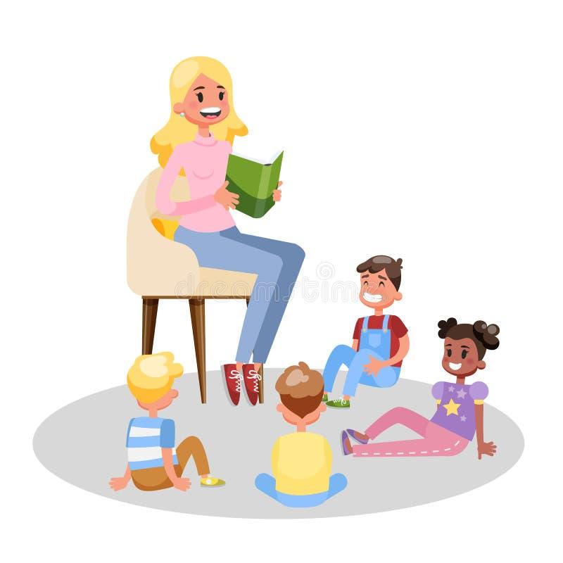 老师读了小组的书学龄前孩子 库存例证