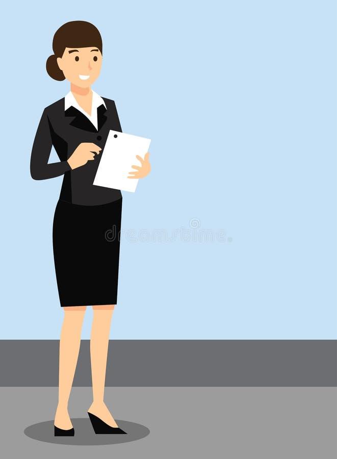 老师,正式礼服的,工作环境女孩 向量例证