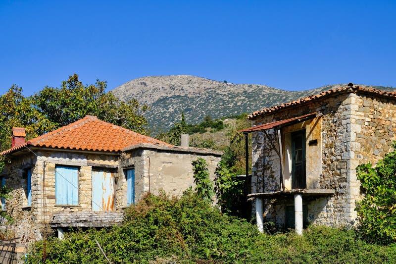 老希腊山村议院 免版税库存照片