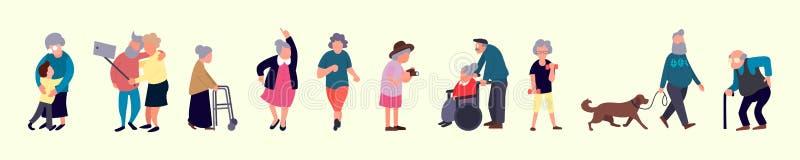 老年人人群  资深室外活动 老男人和妇女走 休闲和休闲前辈活动 向量例证