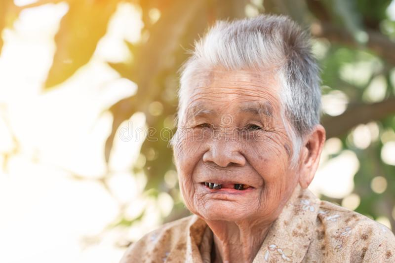 老年人保险概念:亚洲老妇的画像,在阳光明媚的户外,带着黑牙笑 库存图片