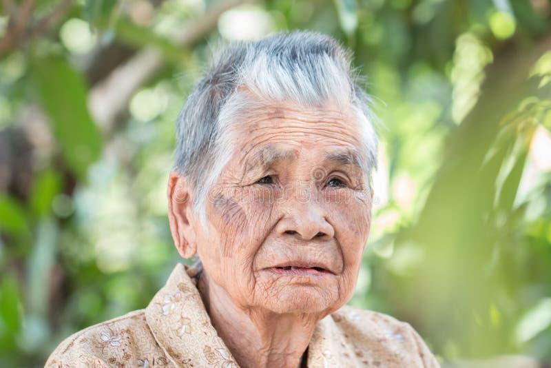 老年人保险概念:阳光明媚的日子里,亚洲老妇与黑牙独坐 免版税库存图片