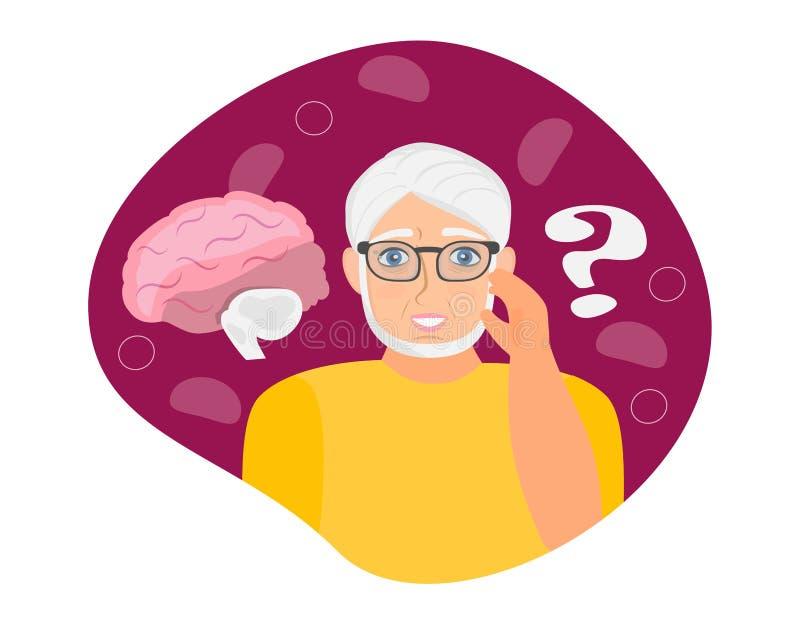 老年痴呆症老人,神经病学保健,帕金森症或痴呆症比喻 向量例证