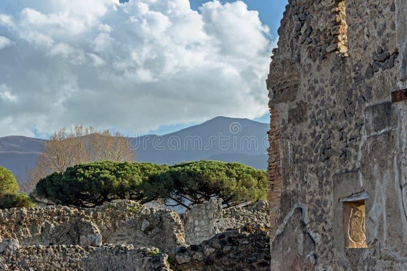 老废墟在庞贝城意大利 库存照片