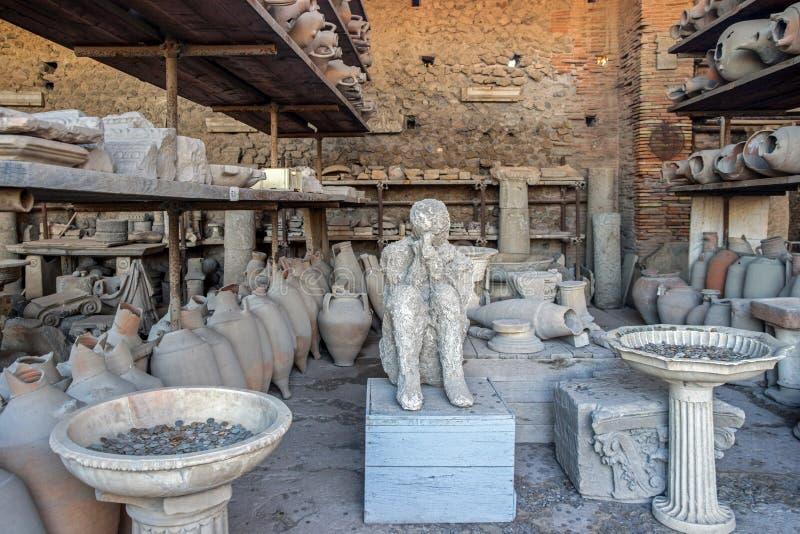 老废墟在庞贝城意大利 免版税图库摄影