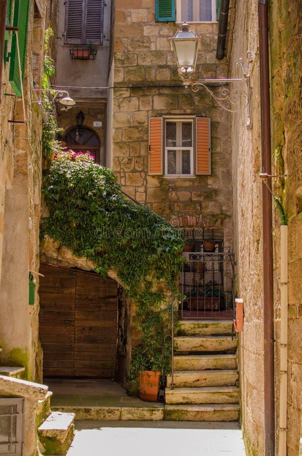 老庭院在皮蒂利亚诺,意大利 库存照片
