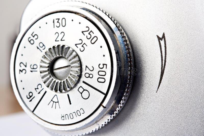 老式SLR相机的ISO拨号开关 免版税库存照片