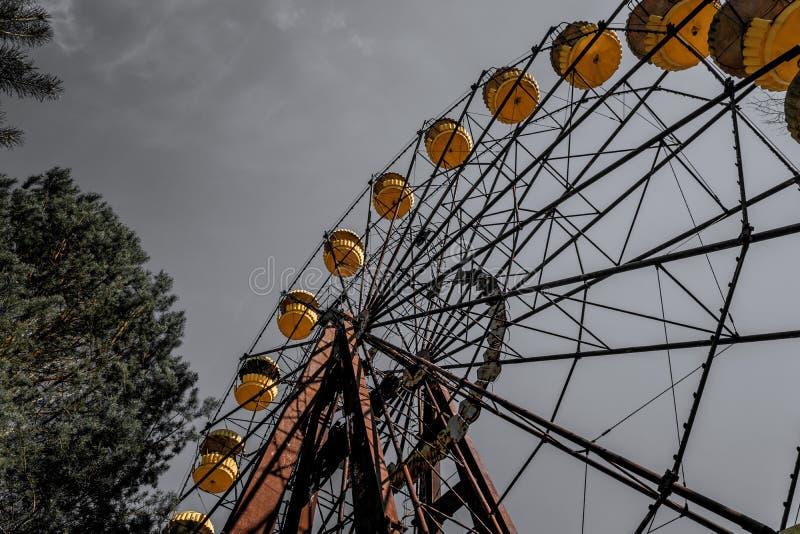 老弗累斯大转轮Pripyat鬼城  事故的后果在Chernobil核电站的 免版税库存图片