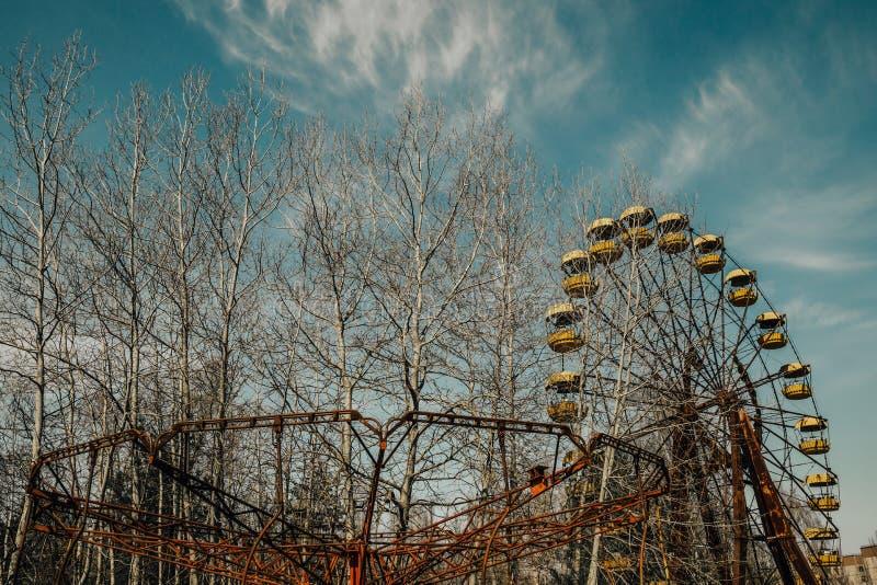 老弗累斯大转轮Pripyat鬼城  事故的后果在Chernobil核电站的 免版税库存照片