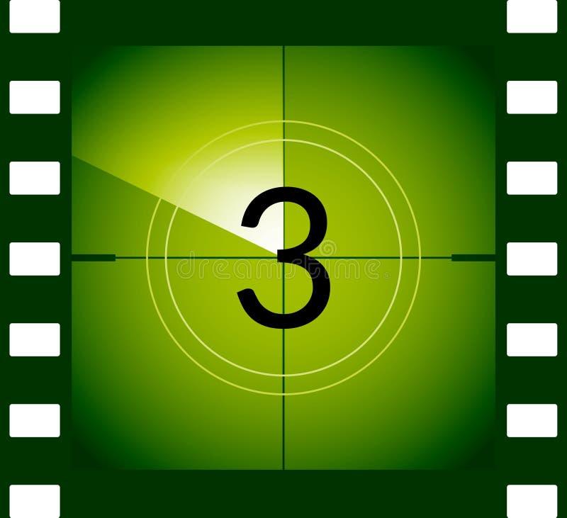 老影片电影读秒框架 老葡萄酒减速火箭的戏院传染媒介定时器计数 向量例证