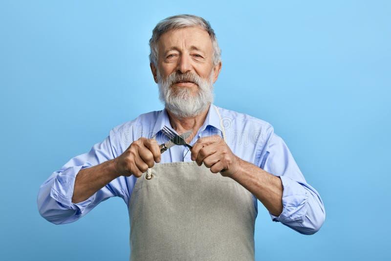 老快乐的厨师或侍者灰色围裙的,蓝色衬衣藏品叉子,匙子 免版税图库摄影