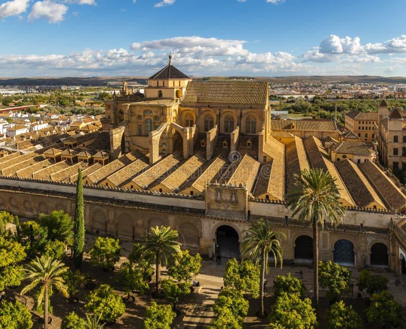 老惊人的摩尔人清真寺大教堂从上面在科多巴,西班牙 免版税库存图片