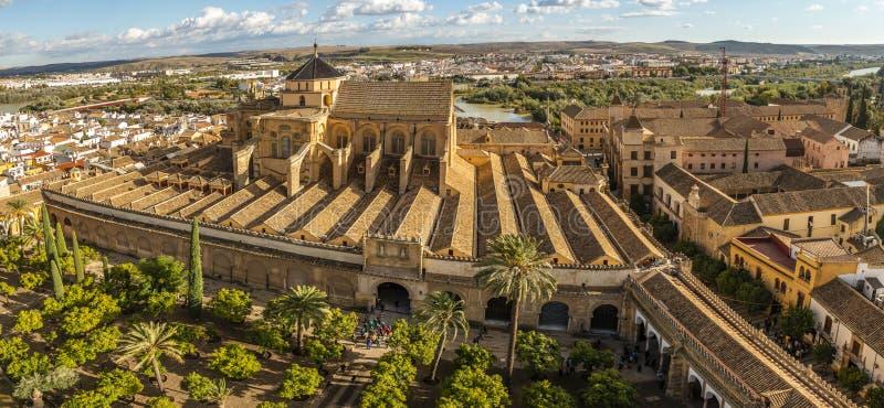 老惊人的摩尔人清真寺大教堂从上面在科多巴,西班牙 免版税库存照片