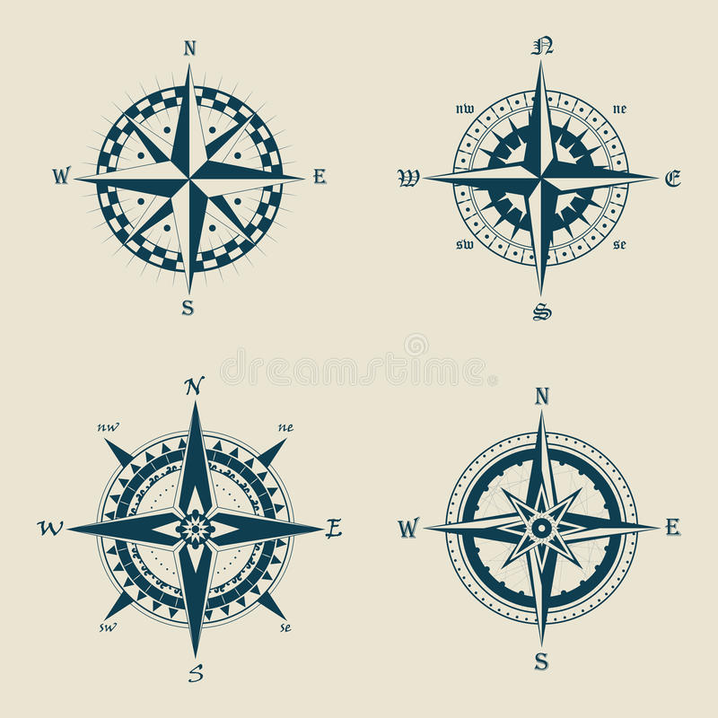 老或减速火箭的指南针或葡萄酒风向玫瑰图 库存例证