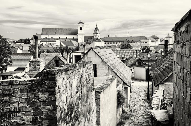 老房子、街道和教会在Skalica镇,斯洛伐克, blac 免版税库存照片