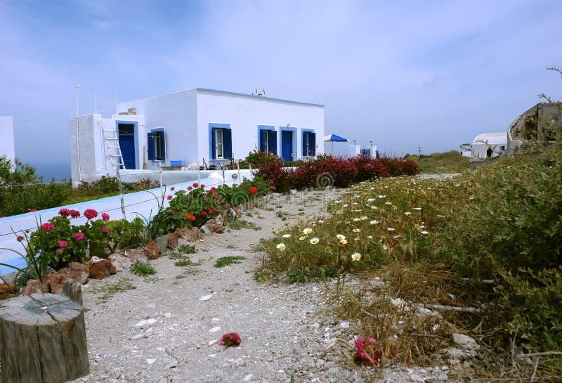老房子和花在圣托里尼海岛上 免版税库存照片
