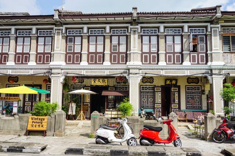 老房子在乔治城在槟榔岛,马来西亚 免版税库存照片