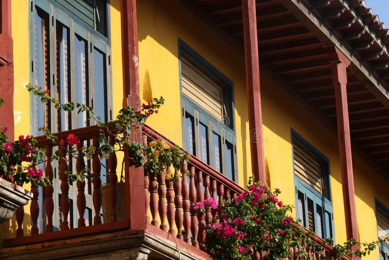 老房子在卡塔赫钠在哥伦比亚 免版税库存照片