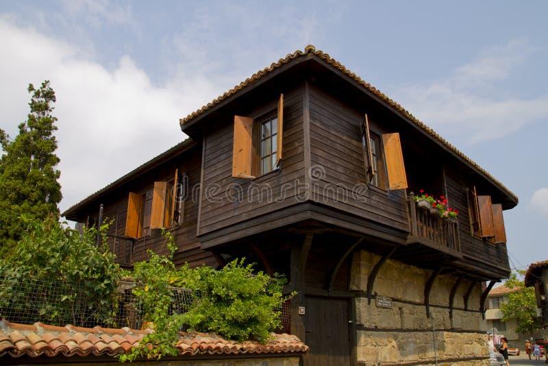 老房子在市Sozopol 免版税库存图片