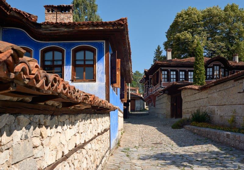老房子在Koprivshtitsa,保加利亚 库存图片