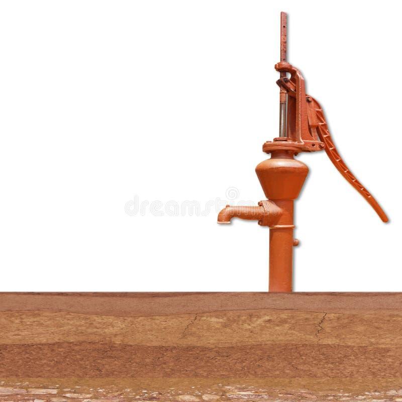 老手工水泵杠杆在地下土壤层数抽  图库摄影