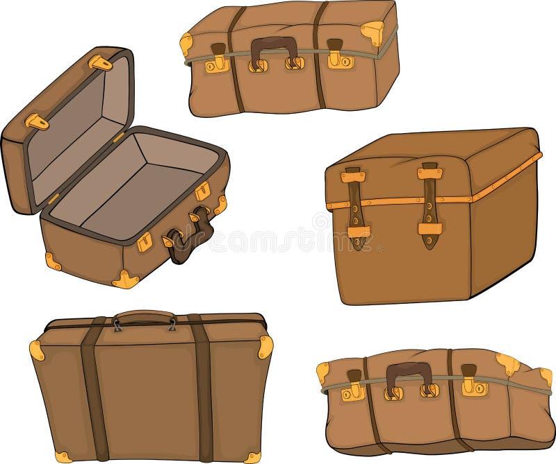 老手提箱成套  库存例证