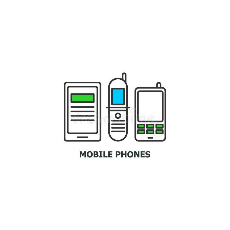 老手机回收在线设计,在白色背景隔绝的传染媒介平的例证的概念象 皇族释放例证