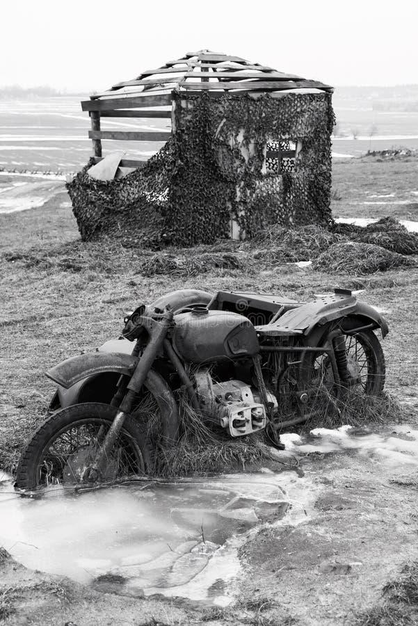 老打破的德国摩托车 免版税库存照片