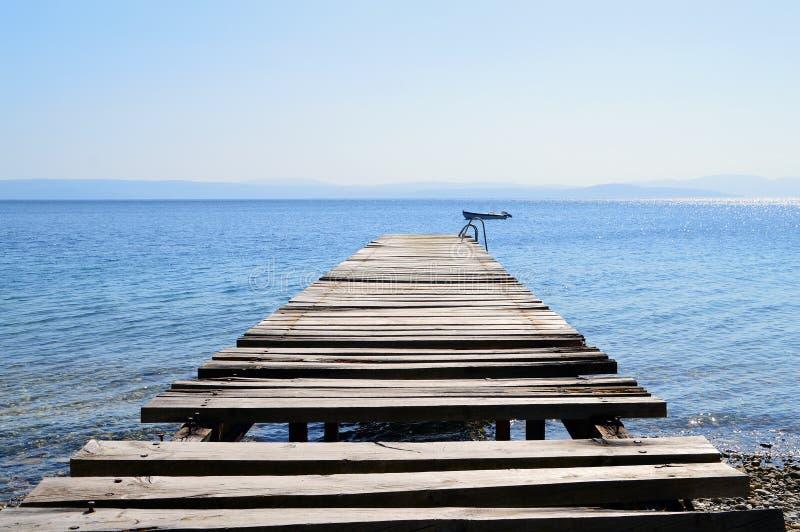 老打破的木码头在镇静蓝色海 免版税图库摄影