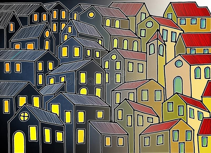 老托斯坎镇启发的虚构的城市-我是用于这张图片的街道画图象的版权拥存者 库存照片