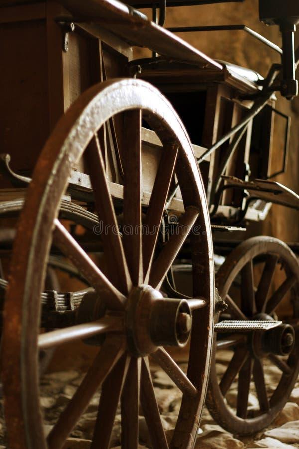老马推车木轮子、轮幅和插孔  库存图片