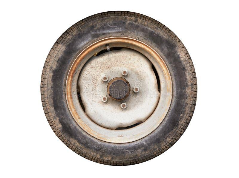 老拖车轮子 免版税图库摄影