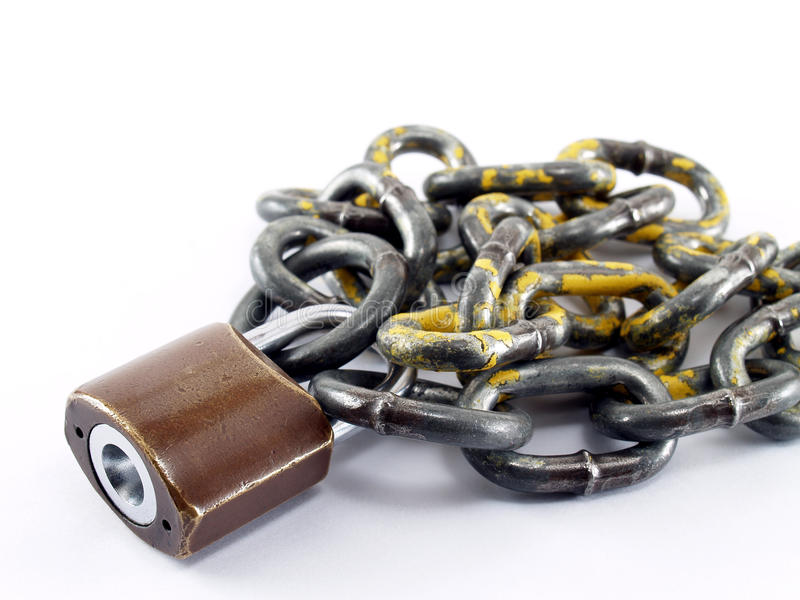 老挂锁和链子 库存照片