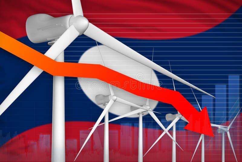 老挝人人民主共和国降低图,在-可更新的自然能工业例证下的箭头的风能力量 3d 库存例证