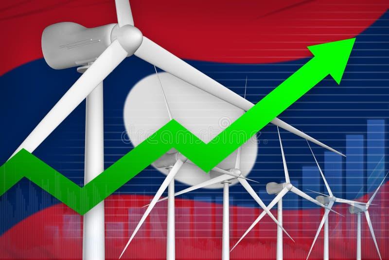 老挝人人民主共和国风能力量上升的图,-环境自然能工业例证的箭头 3d 向量例证