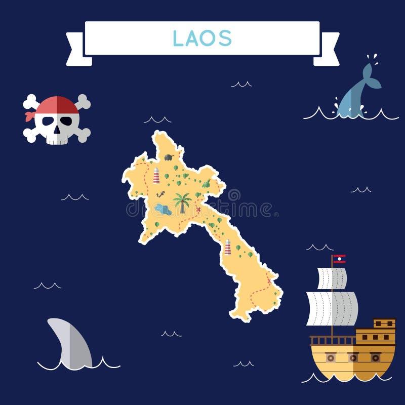 老挝人民主党人的` s平的珍宝地图  库存例证